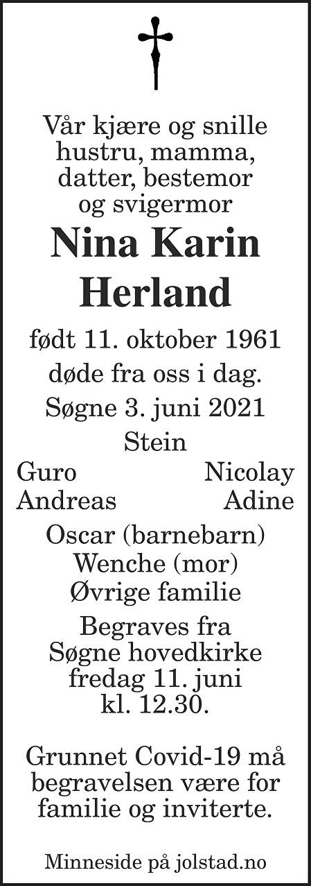 Nina Karin Herland Dødsannonse