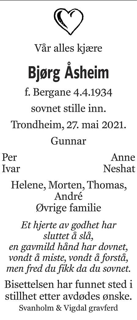 Bjørg Åsheim Dødsannonse