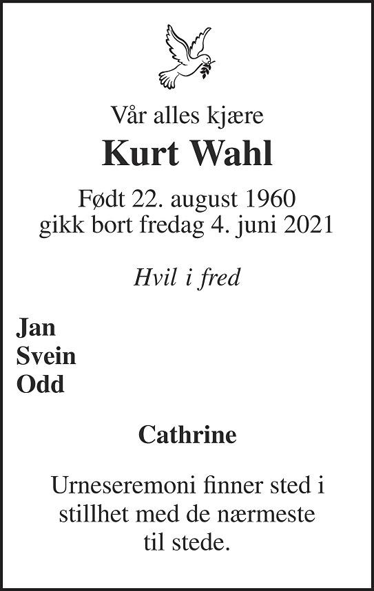 Kurt Wahl Dødsannonse
