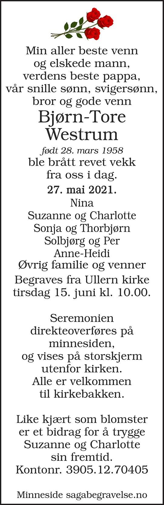 Bjørn-Tore Westrum Dødsannonse