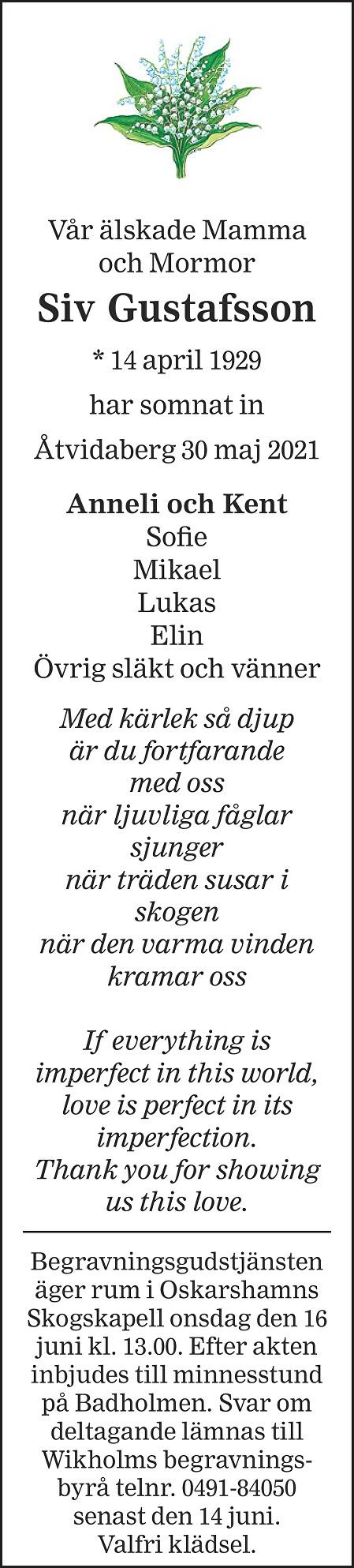 Siv Gustafsson Death notice