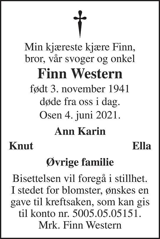 Finn Western Dødsannonse