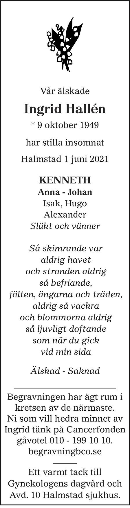 Ingrid  Hallén Death notice
