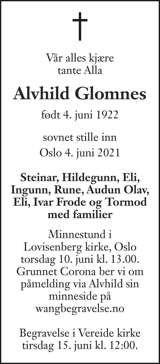 Alvhild Glomnes Dødsannonse