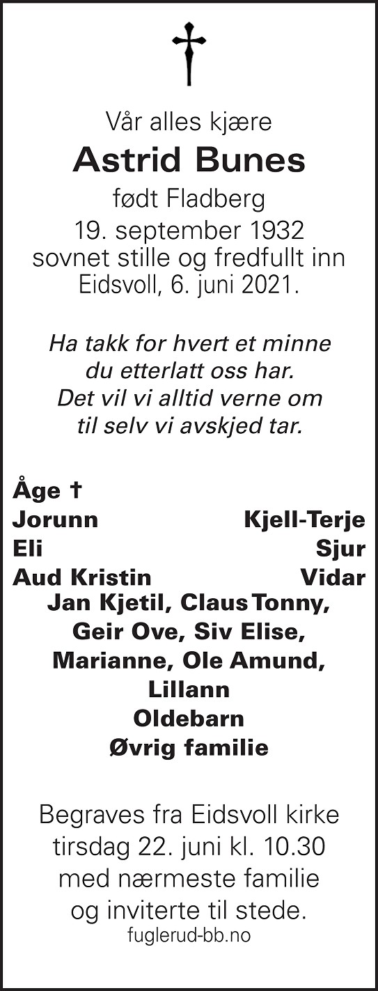 Astrid Bunes Dødsannonse