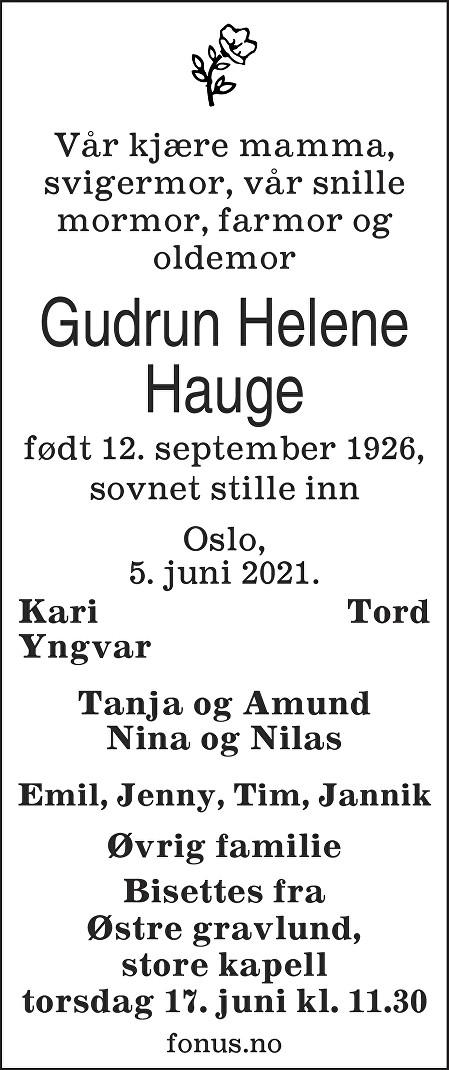 Gudrun Helene Hauge Dødsannonse