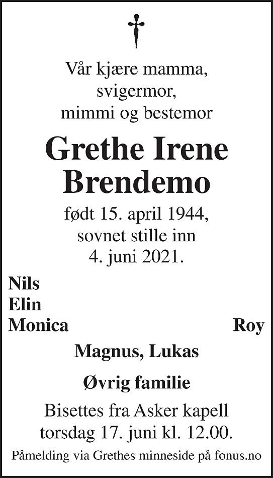 Grethe Irene Brendemo Dødsannonse