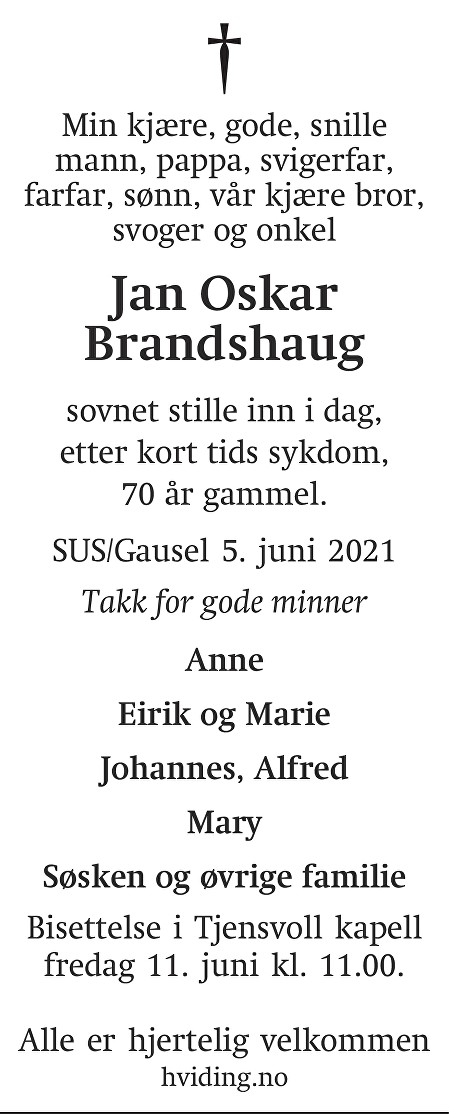 Jan Oskar Brandshaug Dødsannonse