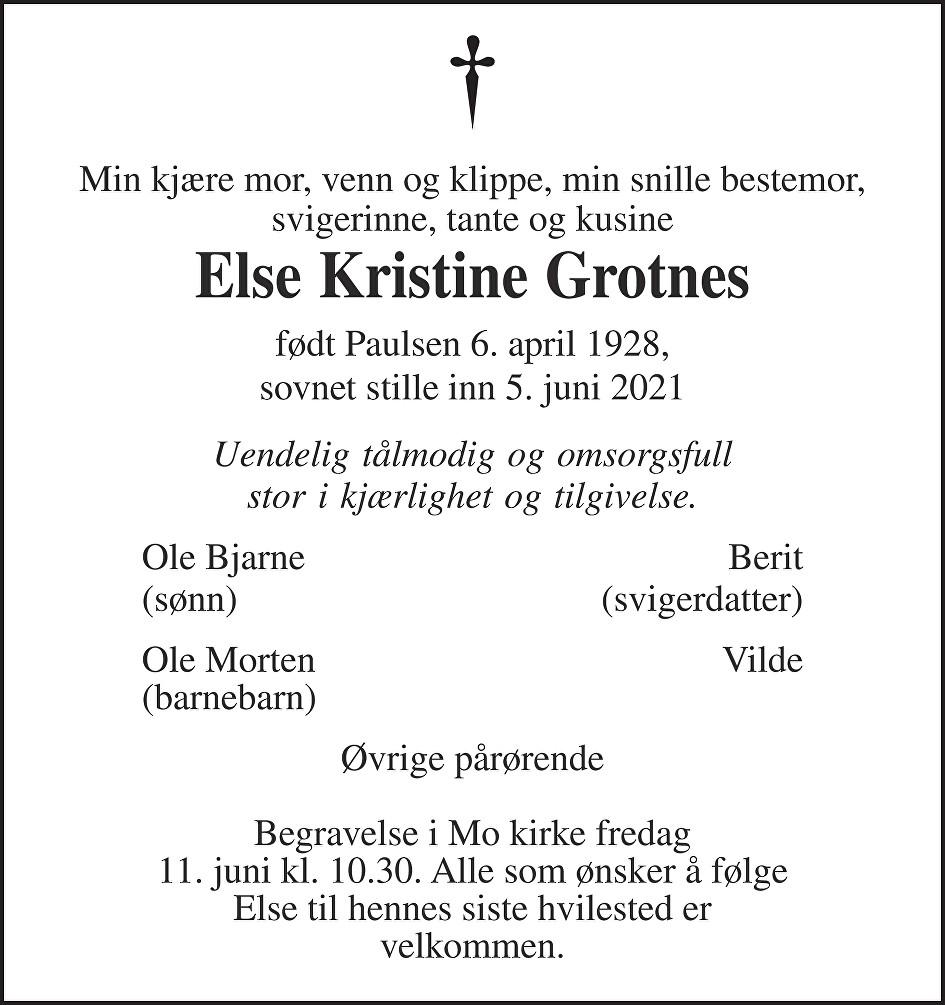 Else Kristine Grotnes Dødsannonse