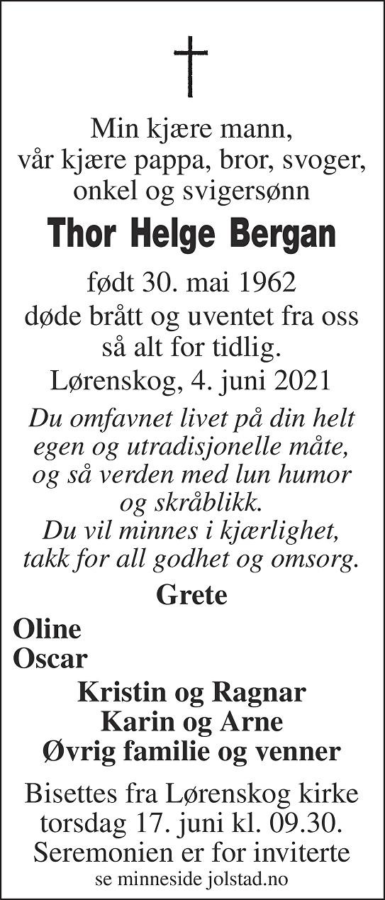 Thor Helge Bergan Dødsannonse
