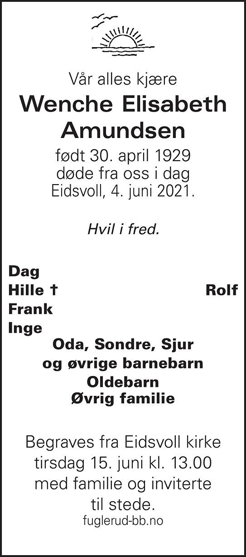 Wenche Elisabeth Amundsen Dødsannonse