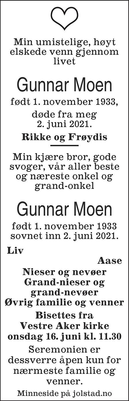 Gunnar  Moen Dødsannonse