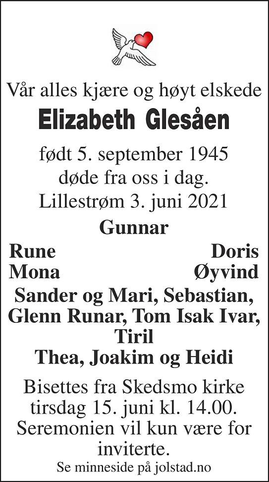 Elizabeth Glesåen Dødsannonse