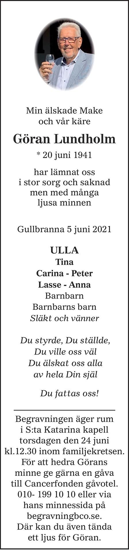 Göran Lundholm Death notice