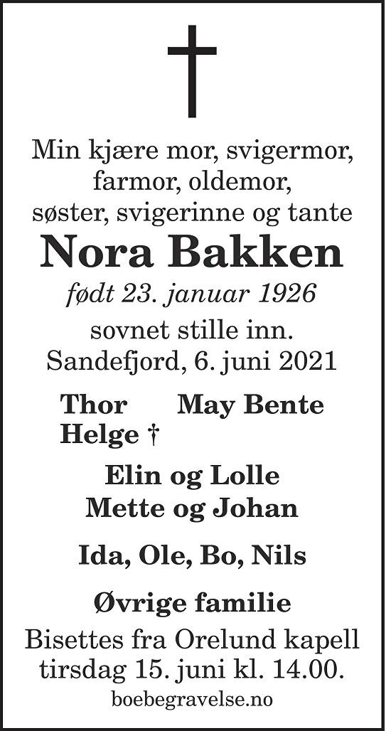Nora Bakken Dødsannonse