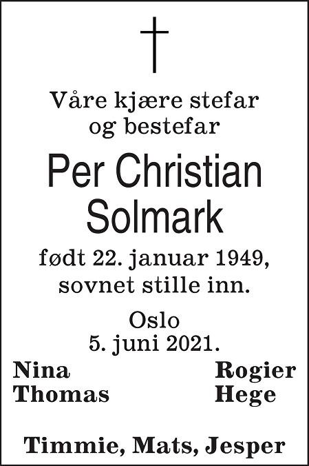 Per Christian Solmark Dødsannonse