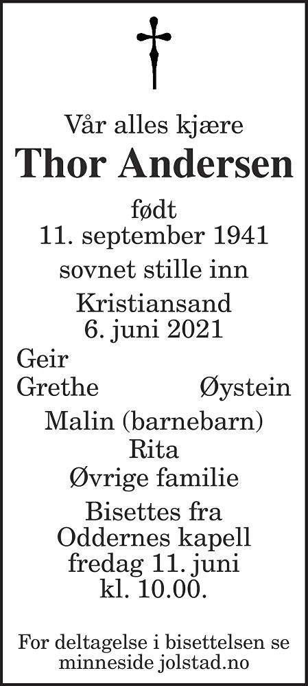 Thor Andersen Dødsannonse