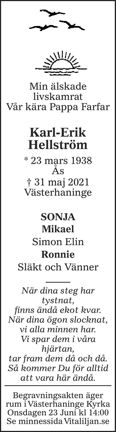 Karl-Erik  Hellström Death notice