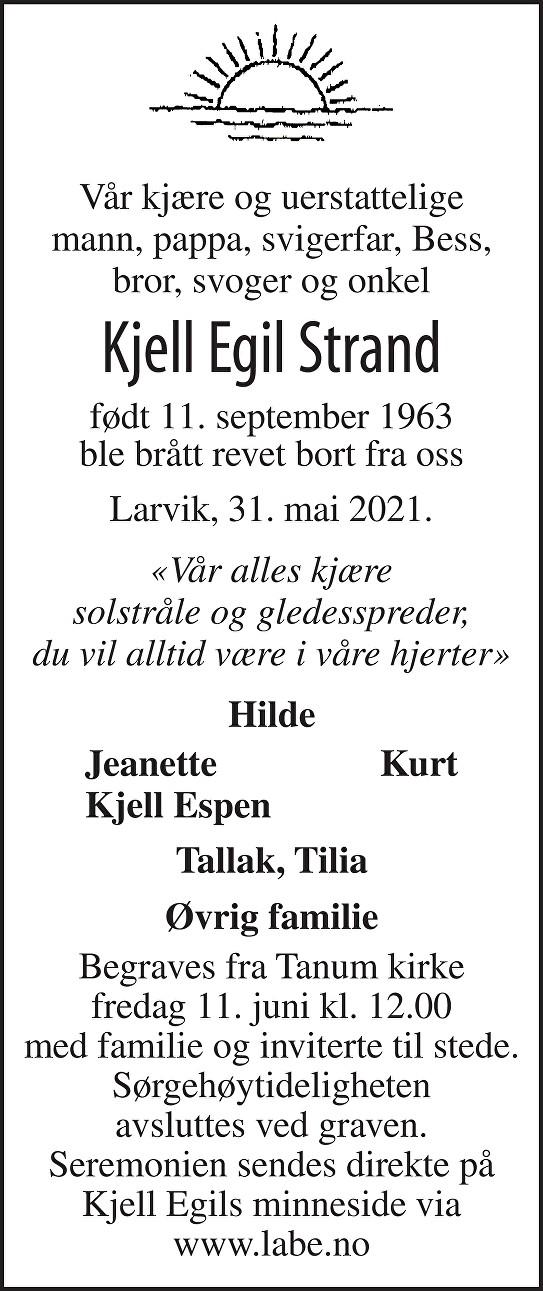 Kjell Egil Strand Dødsannonse