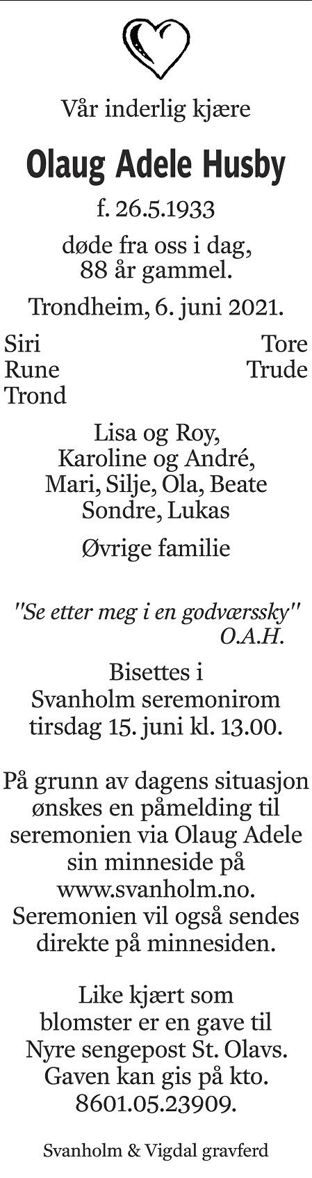 Olaug Adele Husby Dødsannonse