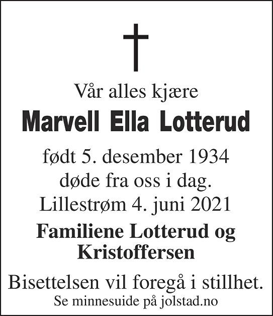 Marvell Ella Lotterud Dødsannonse