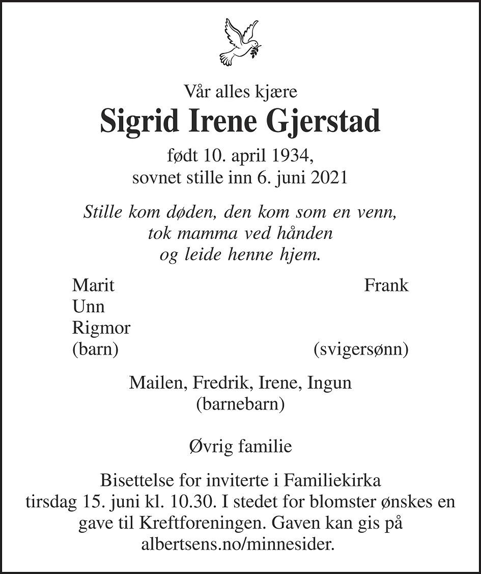 Sigrid Gjerstad Dødsannonse
