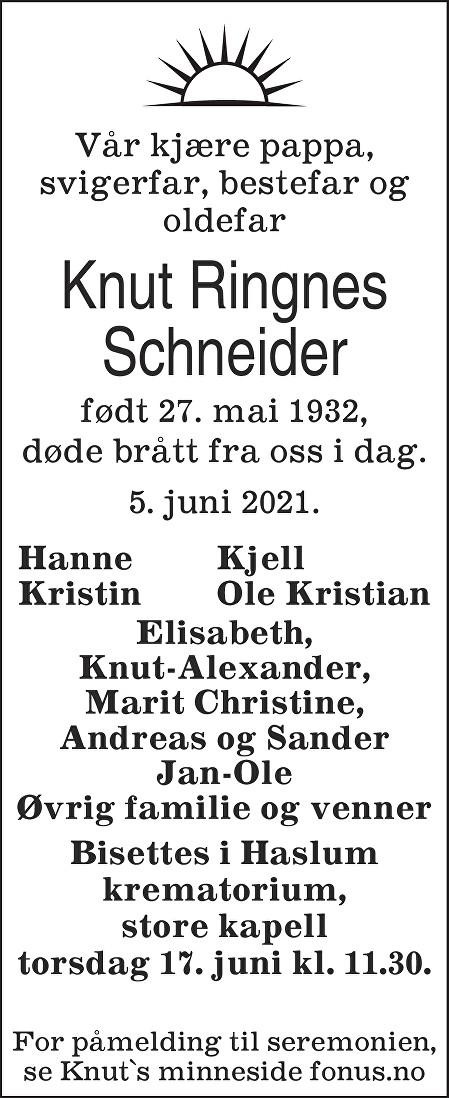 Knut Schneider Dødsannonse