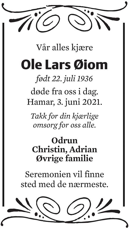 Ole Lars Øiom Dødsannonse
