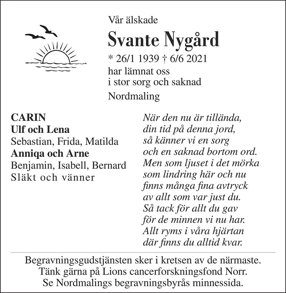 Svante Nygård Death notice