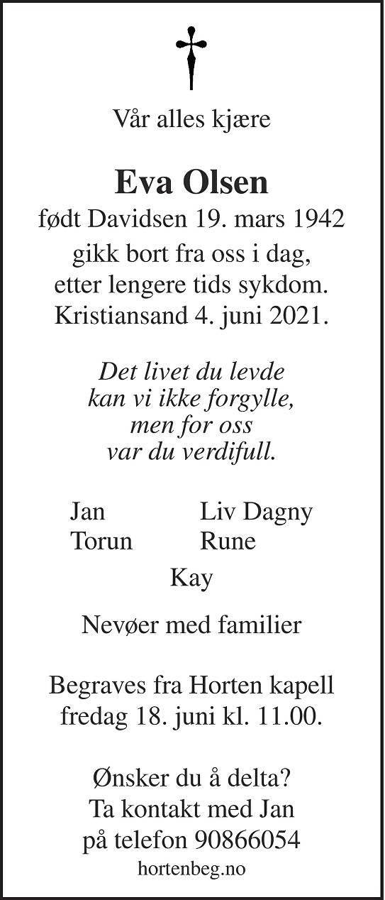 Eva Olsen Dødsannonse