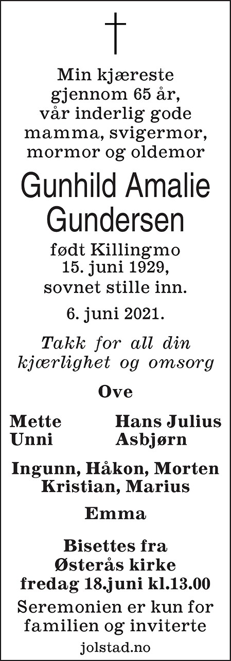 Gunhild Amalie Gundersen Dødsannonse