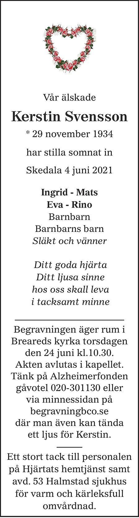 Kerstin Svensson Death notice