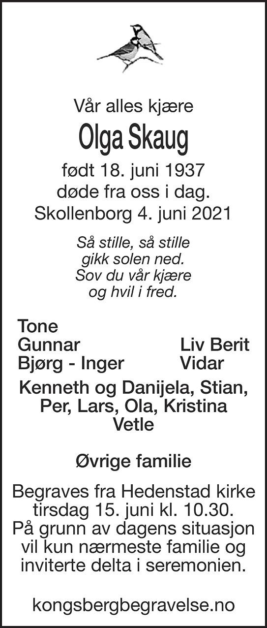 Olga Skaug Dødsannonse