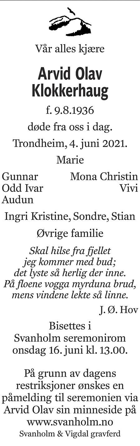 Arvid Olav Klokkerhaug Dødsannonse