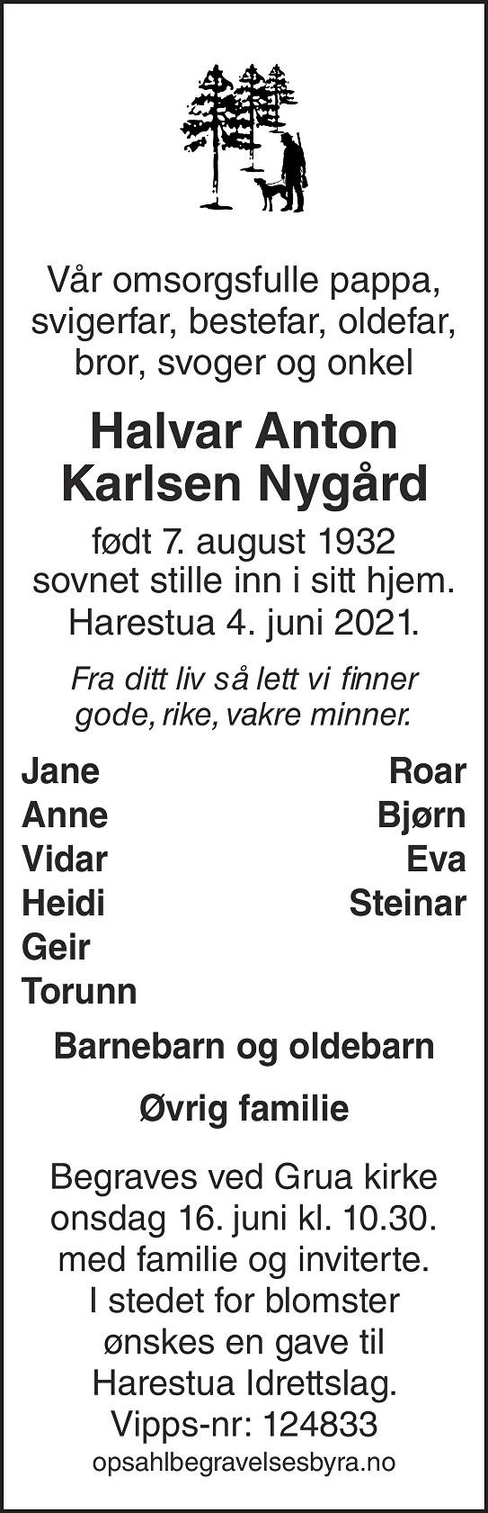 Halvar Anton Karlsen Nygård Dødsannonse