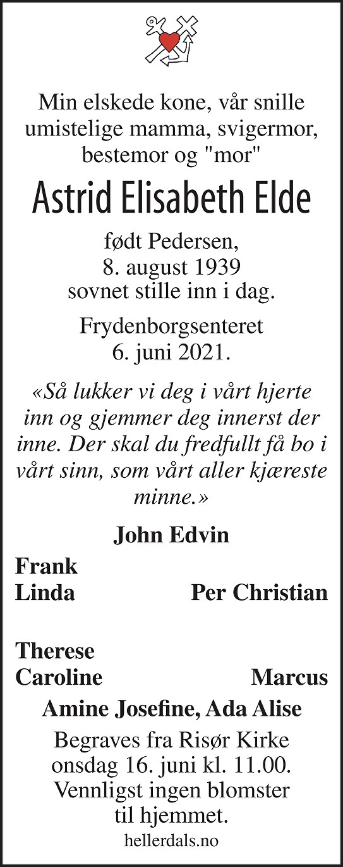 Astrid Elisabeth Elde Dødsannonse
