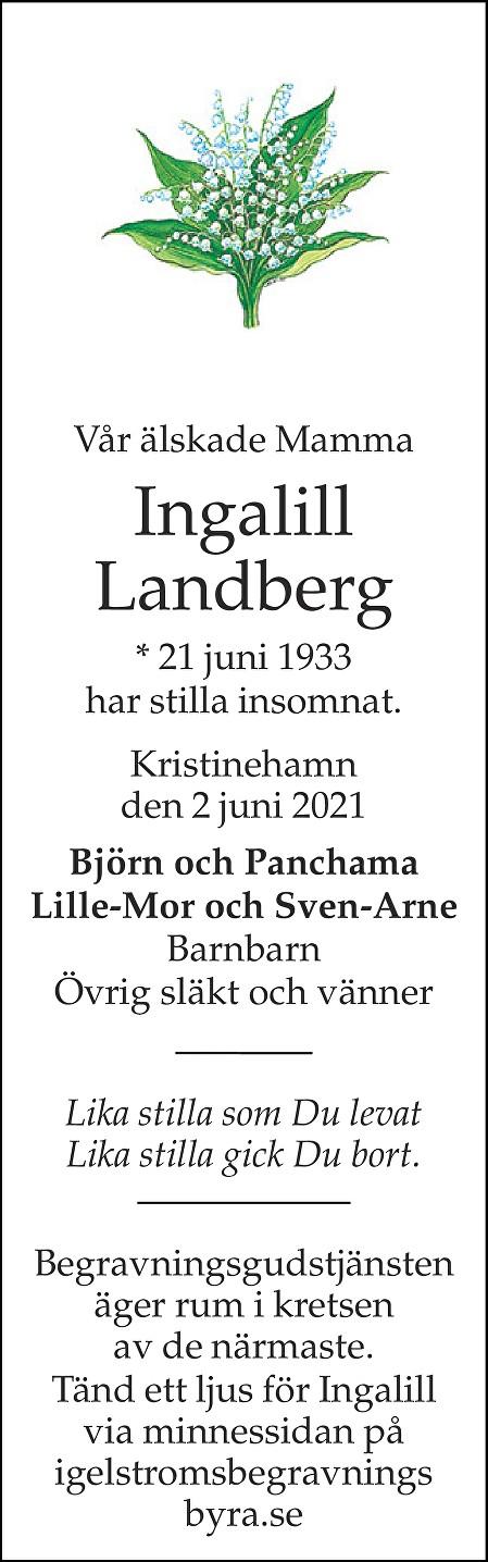 Ingalill Landberg Death notice