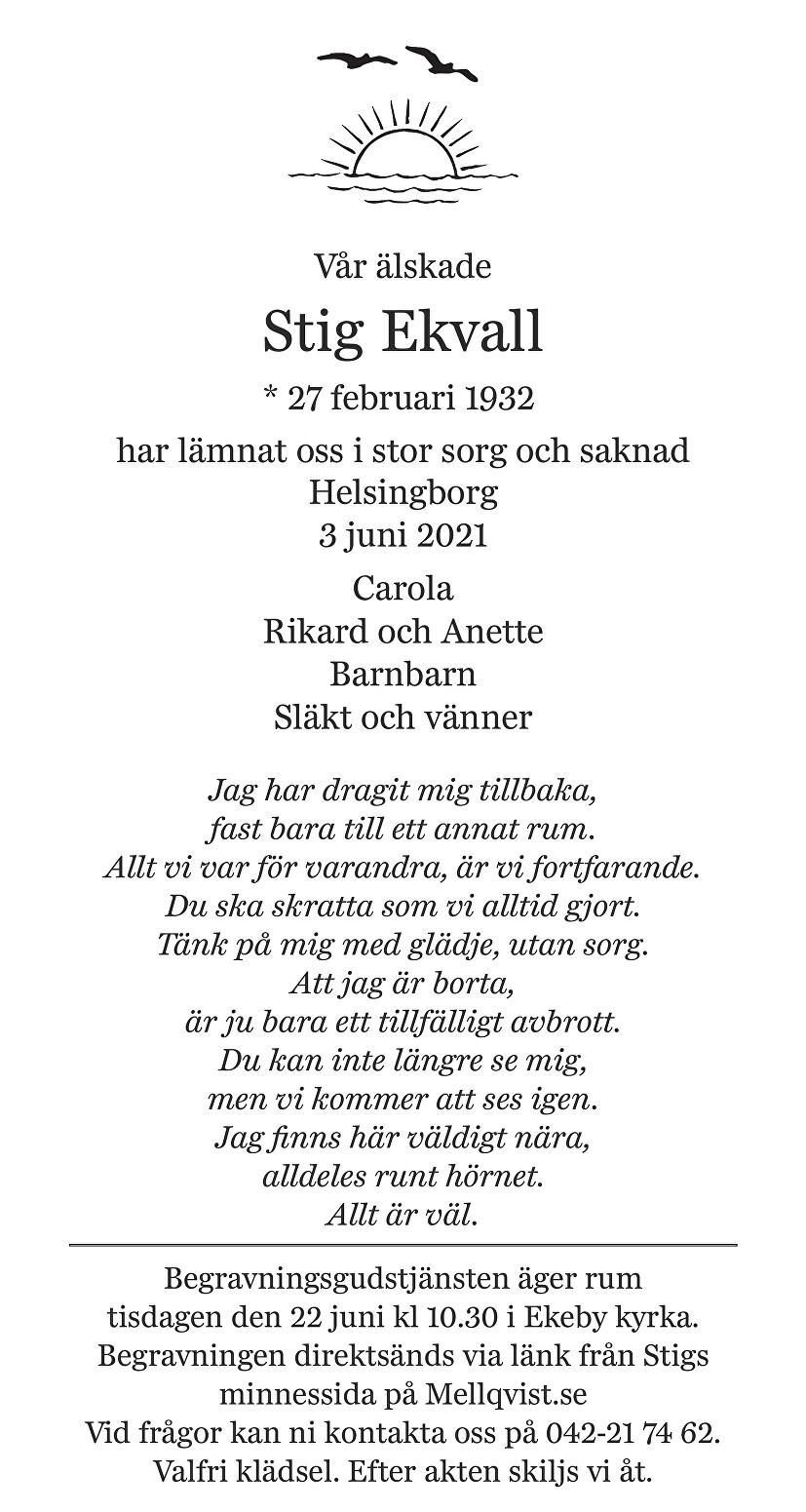 Stig Ekvall Death notice