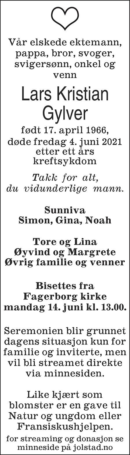 Lars Kristian Gylver Dødsannonse