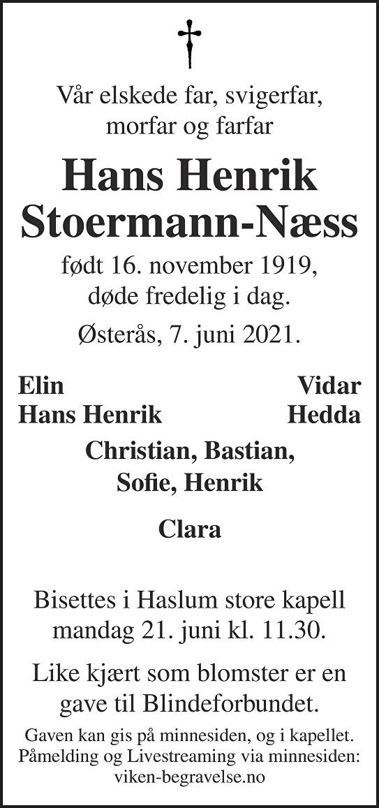 Hans Henrik Stoermann-Næss Dødsannonse