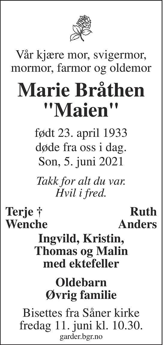 Arnhild Marie Bråthen Dødsannonse