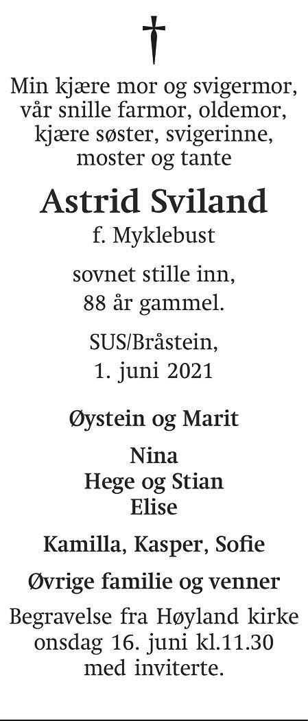 Astrid Sviland Dødsannonse