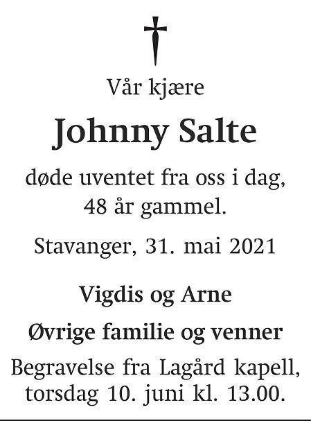 Johnny Salte Dødsannonse
