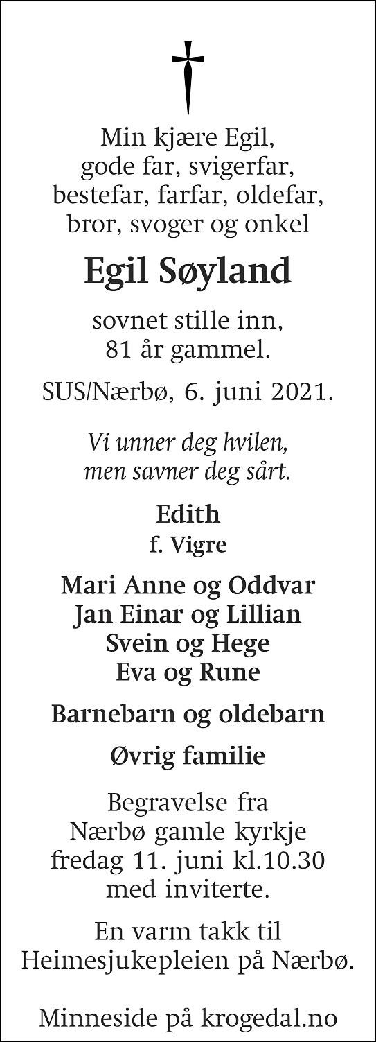Egil Søyland Dødsannonse