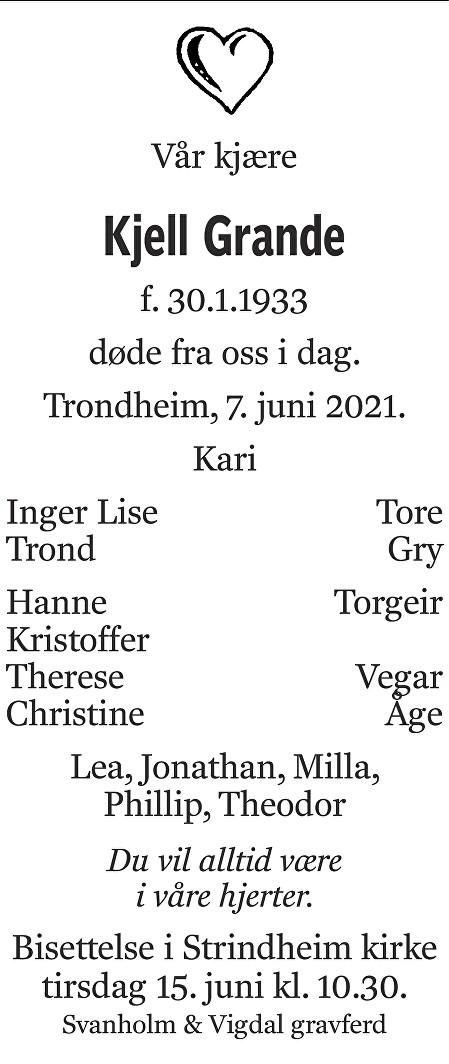 Kjell Grande Dødsannonse