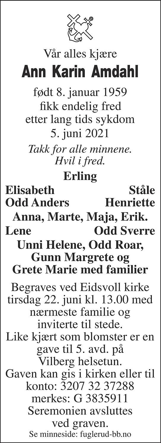Ann Karin Amdahl Dødsannonse