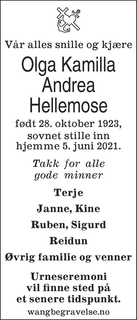 Olga Kamilla Andrea Hellemose Dødsannonse