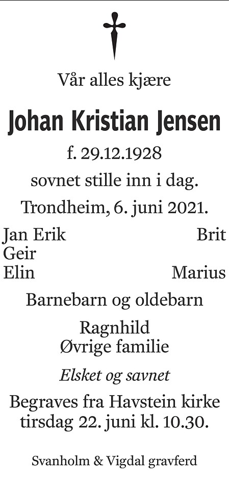 Johan Kristian Jensen Dødsannonse