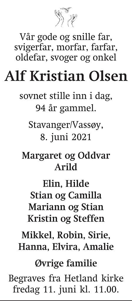 Alf Kristian  Olsen Dødsannonse