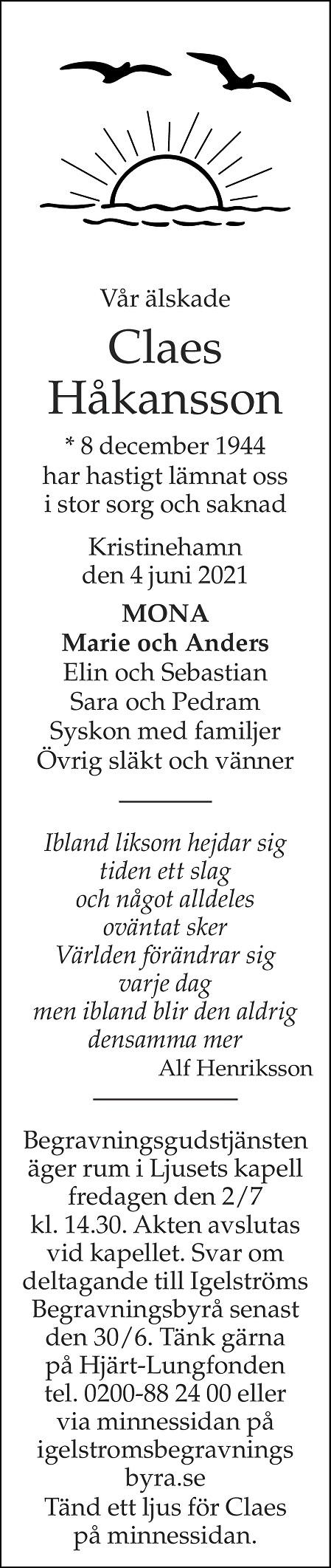 Claes Håkansson Death notice